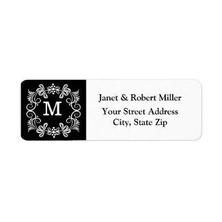 Elegant Monogram Return Address Labels | Black Return Address Label