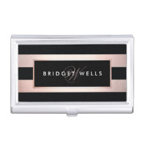 Elegant Monogram Rose Gold and Black Stripes Business Card Holder