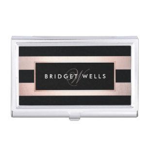 Stylish business card holders cases zazzle elegant monogram rose gold and black stripes business card holder colourmoves