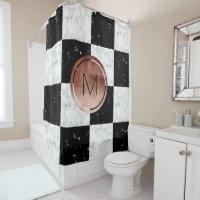 Elegant monogram rose gold black white marble shower curtain
