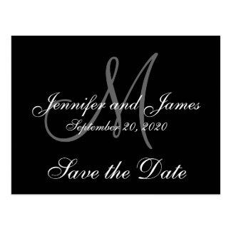 Elegant Monogram Save the Date Postcard
