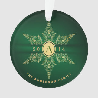 Elegant Monogram Snowflake Christmas Ornament