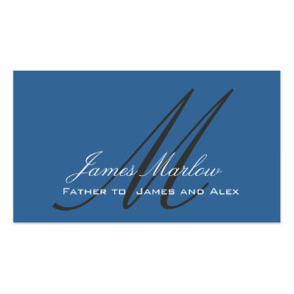 Elegant Monogram Steel Blue Daddy Calling Card Double-Sided Standard Business Cards (Pack Of 100)