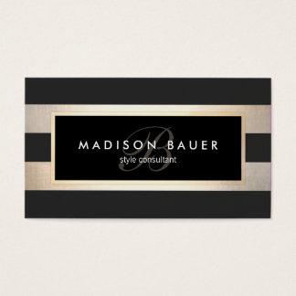 Elegant Monogram Striped Black and FAUX Gold Foil Business Card