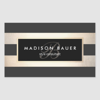 Elegant Monogram Striped Black and FAUX Gold Foil Rectangular Sticker