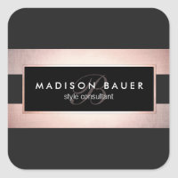 Elegant Monogram Striped Black and Rose Gold Square Sticker