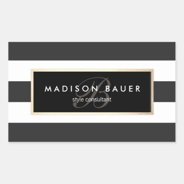 Elegant Monogram Striped Black and White Rectangular Sticker