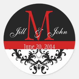 Elegant Monogram & Swirls Red Black Wedding Classic Round Sticker