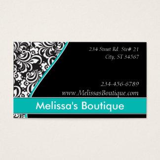 Elegant Monogram teal price tag Business Card