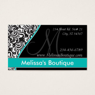 Elegant Monogram teal price tag I