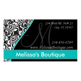 Elegant Monogram teal price tag I Business Card