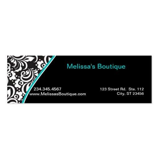 Elegant Monogram teal price tag small Business Card