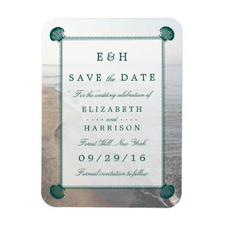 Elegant Monogram, Teal Scallop Beach Save The Date Rectangular Photo Magnet
