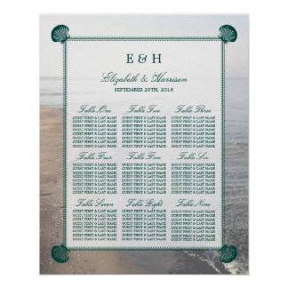 Elegant Monogram & Teal Scallop Beach Wedding Poster