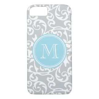 Elegant Monogram Tudor Damask Gray and Baby Blue iPhone 7 Case