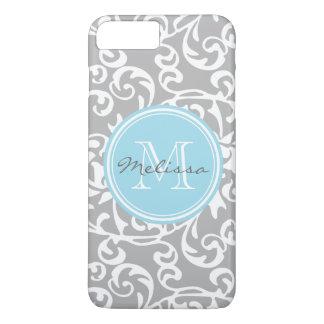 Elegant Monogram Tudor Damask Gray and Baby Blue iPhone 7 Plus Case