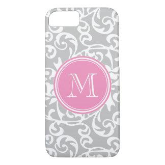 Elegant Monogram Tudor Damask Gray and Pink iPhone 7 Case