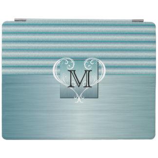 Elegant Monogram Turquoise Brush Steel iPad Cover