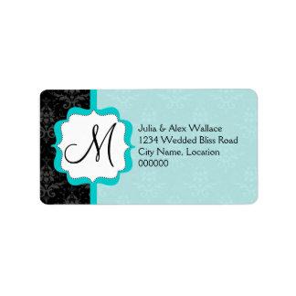 Elegant Monogram Turquoise Damask Address Label