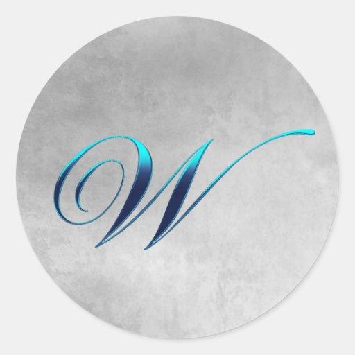 Elegant Monogram W Grunge Sticker
