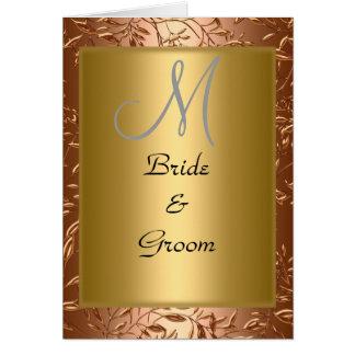 Elegant Monogram Wedding Card Invitation Gold Greeting Card