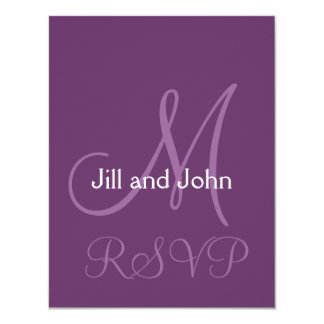 Elegant Monogram Wedding Invitation RSVP Purple