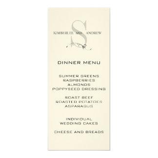 """Elegant Monogram Wedding Menu Card Cream Paper 4"""" X 9.25"""" Invitation Card"""