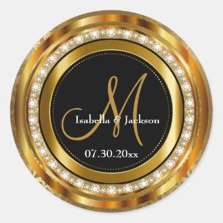 Elegant Monogram Wedding or Anniversary Design Classic Round Sticker