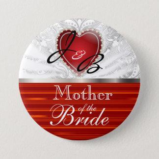 Elegant Monogram Wedding Party in Red & White Pinback Button