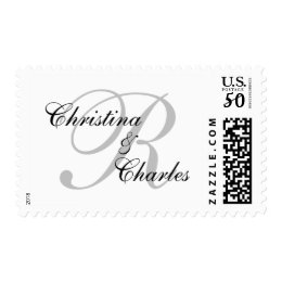 Elegant Monogram Wedding Postage Stamp