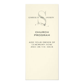 Elegant Monogram Wedding Programs Cream Paper