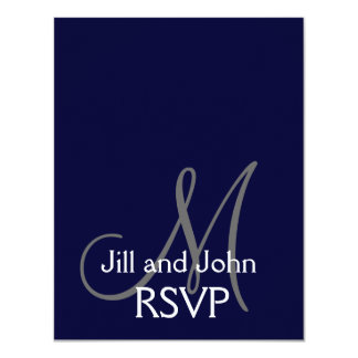 Elegant Monogram Wedding RSVP Card Navy Gray