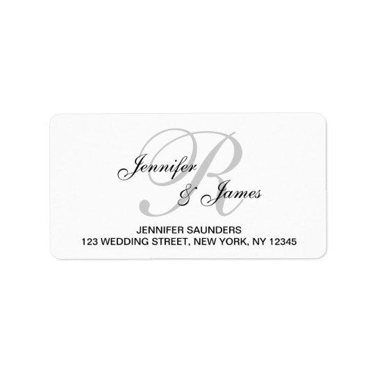 elegant monogram wedding rsvp return address label. Black Bedroom Furniture Sets. Home Design Ideas