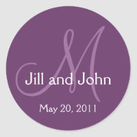Elegant Monogram Wedding Save Date Purple Sticker