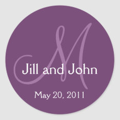 Elegant Monogram Wedding Save Date Purple Sticker at Zazzle