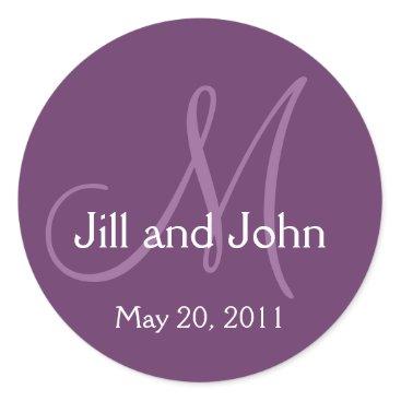 MonogramGalleryGifts Elegant Monogram Wedding Save Date Purple Sticker