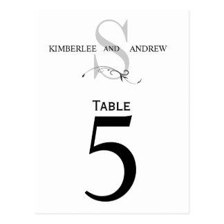 Elegant Monogram Wedding Table Number Card