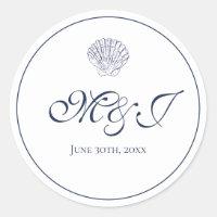 Elegant Monogram White and Blue Shell Classic Round Sticker