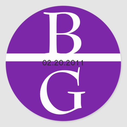 Elegant Monogram White and Purple Wedding Sticker sticker