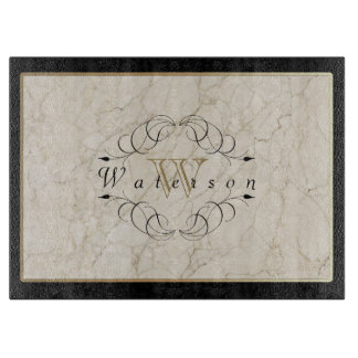 Elegant Monogram White Marble Ornament Gold Black Cutting Board