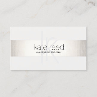 Custom business cards zazzle elegant monogram white modern faux silver striped business card colourmoves
