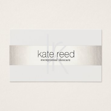 sm_business_cards Elegant Monogram White Modern FAUX Silver Striped Business Card