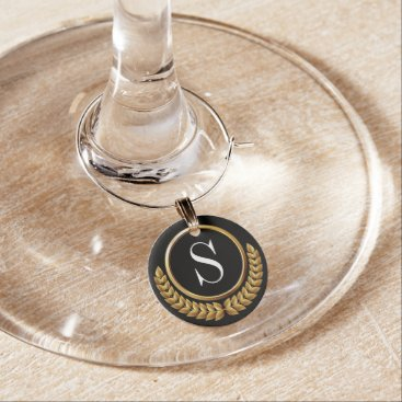 Professional Business Elegant Monogram Wine Charm Drink Marker