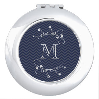 Elegant monograma with flowers and chevrón blue vanity mirror