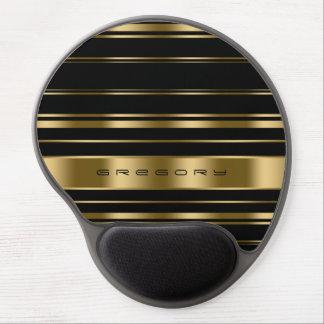Elegant Monogramed Black And Gold Stripes Gel Mouse Pad