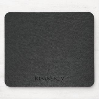 Elegant Monogramed Black Faux Leather Mouse Pad