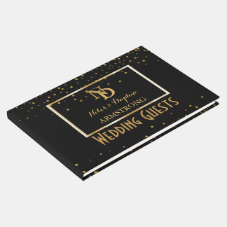 Elegant Monogrammed | Black Gold Art Deco Wedding Guest Book
