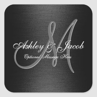 Elegant Monogrammed Black & White Wedding Sticker