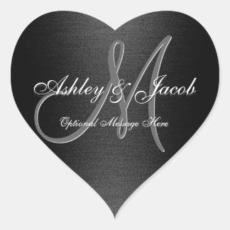 Elegant Monogrammed Black & White Wedding Sticker