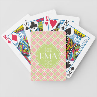 Elegant Monogrammed Clover Pattern Pink & Green Bicycle Playing Cards